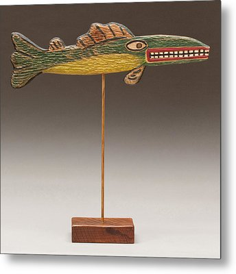 Folk Art Fish Metal Print by James Neill