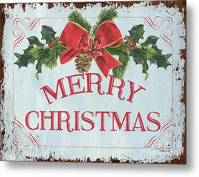 Folk Merry Christmas Metal Print by Debbie DeWitt
