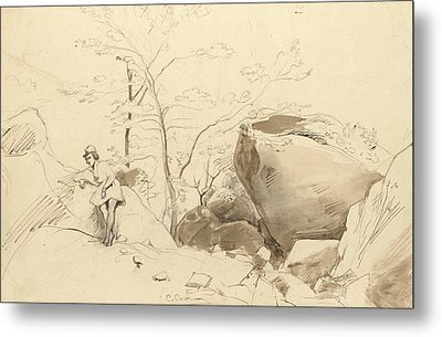 Fontainebleau, Figure Leaning Against A Rock Metal Print by Jean-Baptiste-Camille Corot