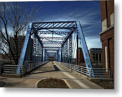 Foot Bridge Over The Grand River Metal Print by Richard Gregurich