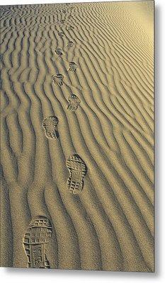 Footprints In The Sand Metal Print by Joe  Palermo
