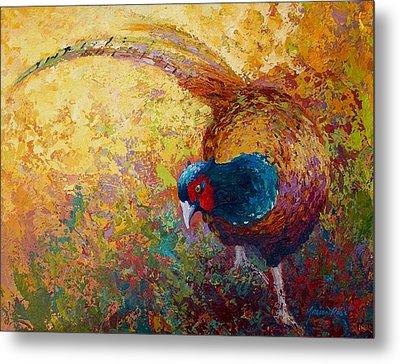 Foraging Pheasant Metal Print by Marion Rose