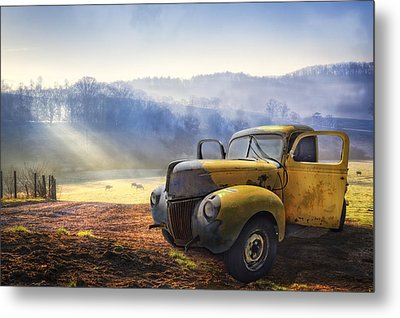 Ford In The Fog Metal Print by Debra and Dave Vanderlaan