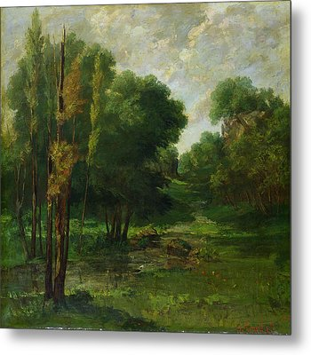 Forest Landscape Metal Print by Gustave Courbet