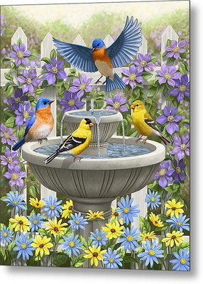 Fountain Festivities - Birds And Birdbath Painting Metal Print by Crista Forest