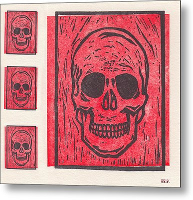 Four Red Skulls Offset Metal Print by Little Bunny Sunshine