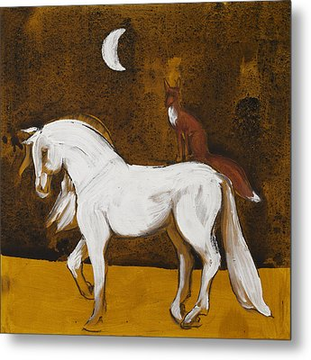 Fox And Horse Metal Print by Sophy White