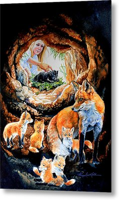 Fox Family Addition Metal Print by Hanne Lore Koehler