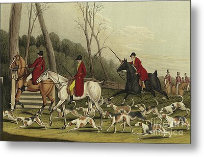 Fox Hunting Going Into Cover Metal Print by Henry Thomas Alken