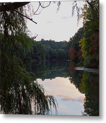 Framed Lake Reflection  Metal Print by Justin Connor