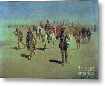Francisco Vasquez De Coronado Making His Way Across New Mexico Metal Print by Frederic Remington
