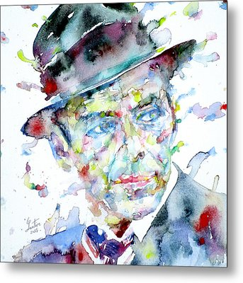 Frank Sinatra - Watercolor Portrait.2 Metal Print by Fabrizio Cassetta