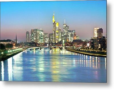 Frankfurt  Night Skyline Metal Print by Ixefra