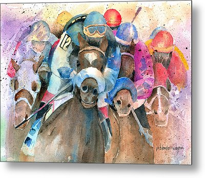 Frantic Finish Metal Print by Arline Wagner