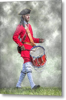 French Army Drummer Fort Ligonier Portrait  Metal Print by Randy Steele