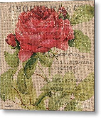 French Burlap Floral 1 Metal Print by Debbie DeWitt