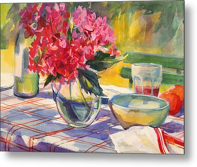 French Garden Table Metal Print by Sue Wales