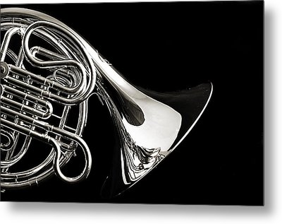 French Horn Isolated On Back Metal Print by M K  Miller