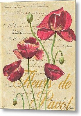 French Pink Poppies Metal Print by Debbie DeWitt