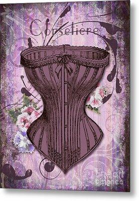 French Vintage Lingerie Fashion Corset Art Metal Print by Tina Lavoie
