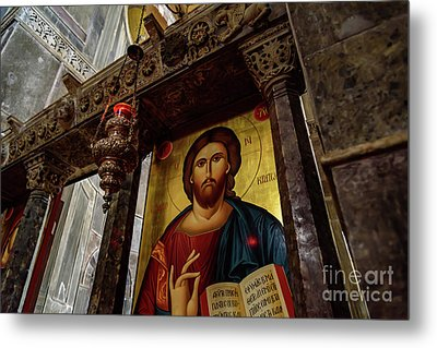Fresco Painting Of Jesus At The Church Of Holy Luke At Monastery Of Hosios Loukas In Greece  Metal Print by Global Light Photography - Nicole Leffer