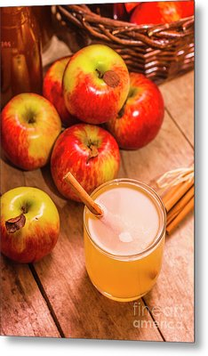 Fresh Apple Juice With Cinnamon Metal Print by Jorgo Photography - Wall Art Gallery
