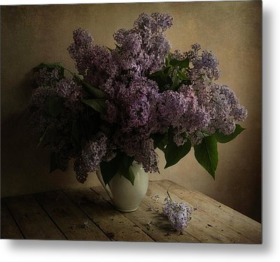 Fresh Lilac In White Pot Metal Print by Jaroslaw Blaminsky