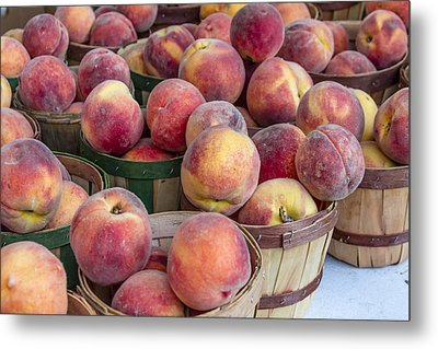 Fresh Peaches At The Market Metal Print by Teri Virbickis