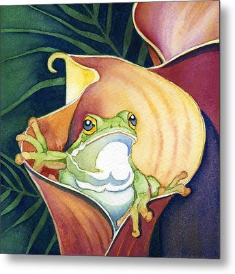 Frog In Gold Calla Lily Metal Print by Lyse Anthony