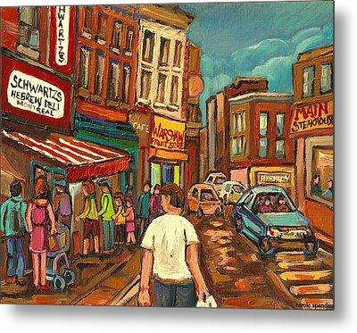 From Schwartz's To Warshaws To The  Main Steakhouse Montreal's Famous Landmarks By Carole Spandau  Metal Print by Carole Spandau
