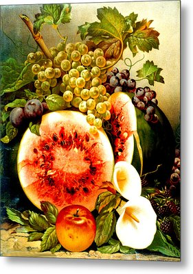 Fruit And Calla Lilies - Vintage Art Painting Metal Print by Just Eclectic