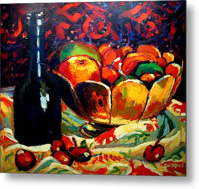 Fruit Bowl And Bottle Metal Print by Brian Simons