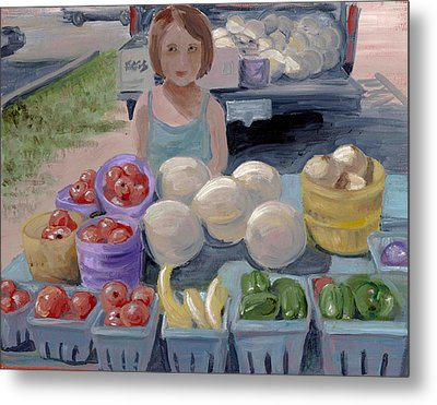 Fruit Stand Girl Metal Print by Cathy France