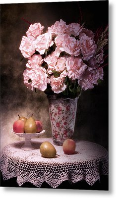 Fruit With Flowers Still Life Metal Print by Tom Mc Nemar