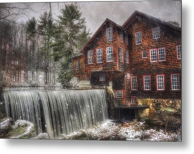 Frye's Measure Mill - Winter In New England Metal Print by Joann Vitali