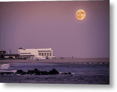 Full Moon Over Cape May Metal Print by Bill Cannon