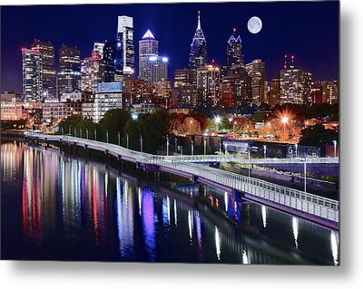 Full Moon Over Philly Metal Print by Frozen in Time Fine Art Photography