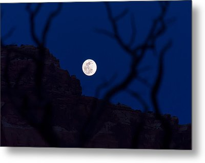 Full Moon Rising Over Desert Metal Print by Michael J Bauer