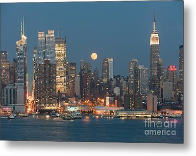 Full Moon Rising Over New York City I Metal Print by Clarence Holmes