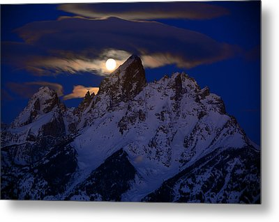 Full Moon Sets Over The Grand Teton Metal Print by Raymond Salani III