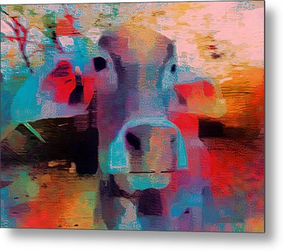 Fun Pink Blue Abstract Cow Rajasthan India 1b Metal Print by Sue Jacobi
