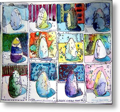 Funny Eggs Metal Print by Mindy Newman