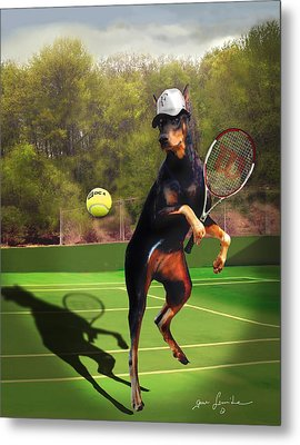 funny pet scene tennis playing Doberman Metal Print by Gina Femrite