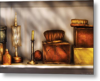 Furniture - Shelf - A Collection Of Curious Items Metal Print by Mike Savad