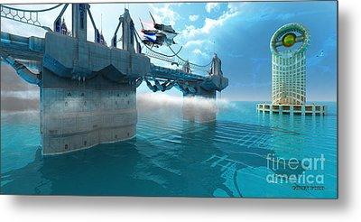 Futuristic Skyway Metal Print by Corey Ford