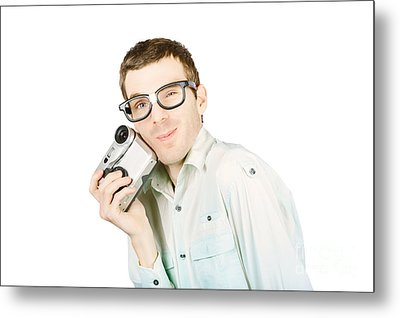 Gadget Geek With Product Satisfaction Metal Print by Jorgo Photography - Wall Art Gallery