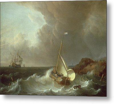 Galleon In Stormy Seas   Metal Print by Jan Claes Rietschoof