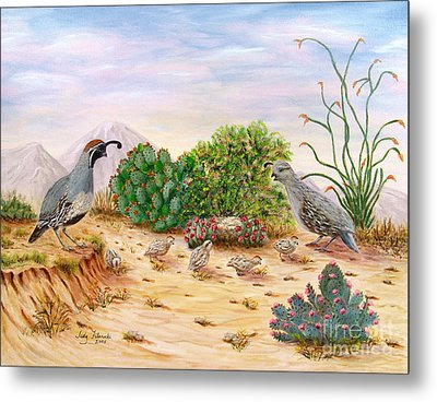 Gambel Quails Day In The Life Metal Print by Judy Filarecki