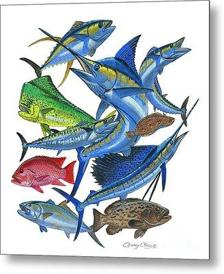 Gamefish Collage Metal Print by Carey Chen