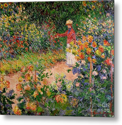 Garden At Giverny Metal Print by Claude Monet